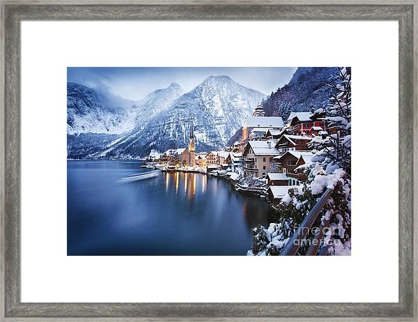 Winter View Of Hallstatt, Traditional Framed Print