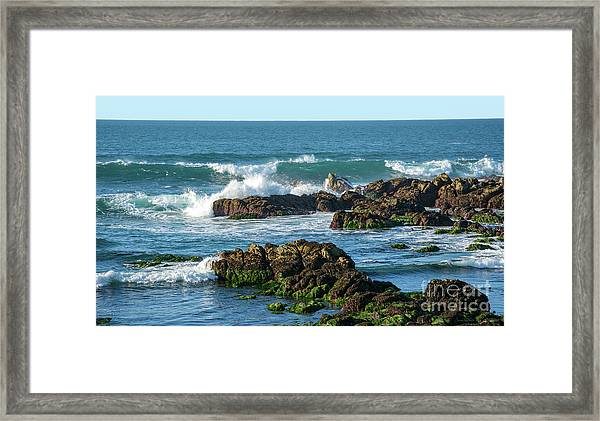 Winter Waves Hit Ancient Rocks No. 1 Framed Print