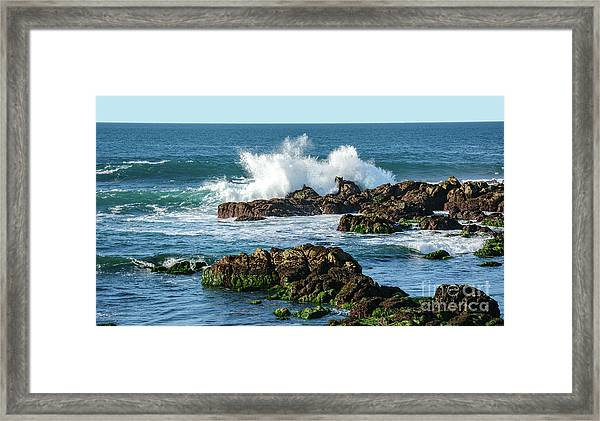 Winter Waves Hit Ancient Rocks No. 2 Framed Print