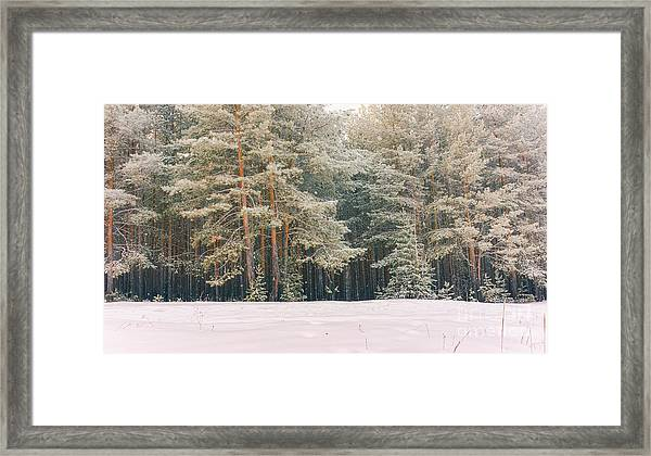 Wintry Landscape Scenery With Flat Framed Print
