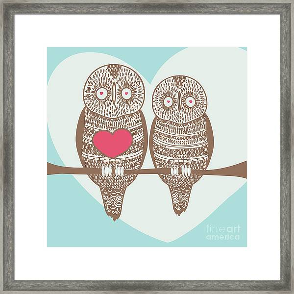 Wise Owl Couple On Tree Branch Under Framed Print