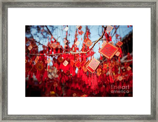 Wish Cards In A Buddhist Temple In Framed Print