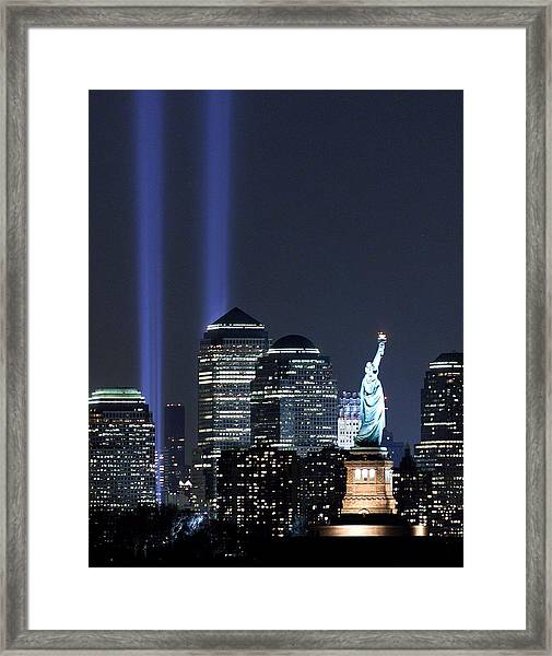 With Lady Liberty Raising Her Torch In Framed Print