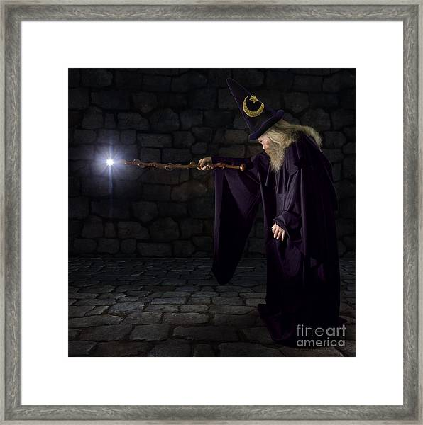 Wizard In A Purple Robe And Wizard Hat Framed Print by James Steidl