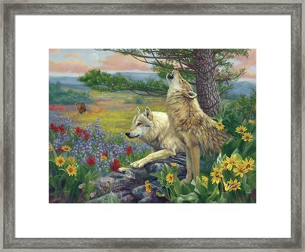 Wolves In The Spring Framed Print