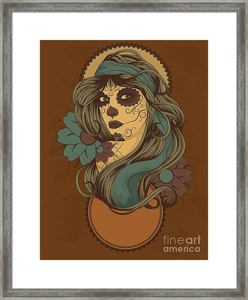 Woman As Sugar Skull With Detailed Hair Framed Print