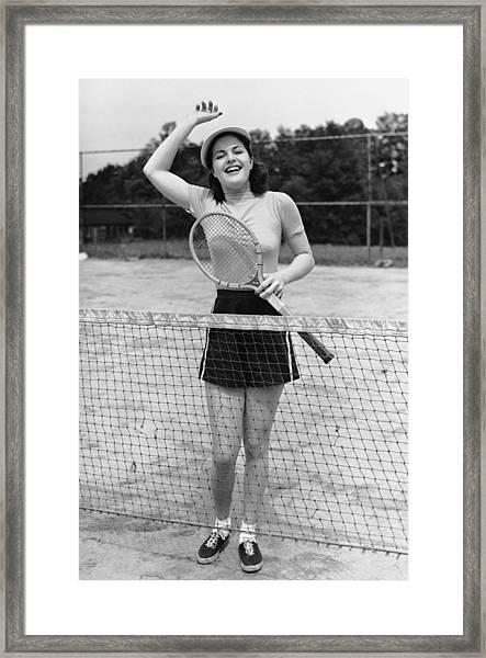 Woman At Tennis Court Framed Print