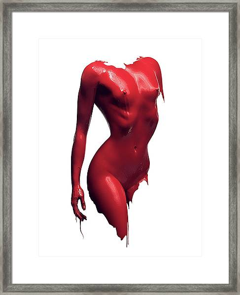 Woman Body Red Paint Framed Print