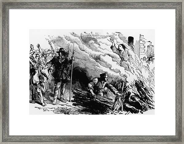 Woman Burned At Stake For Witchcraft Framed Print by Kean Collection