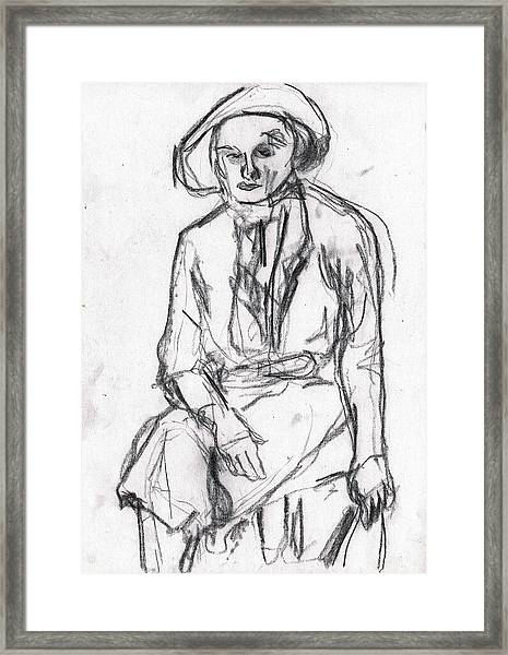Woman In A Hat Drawing Framed Print