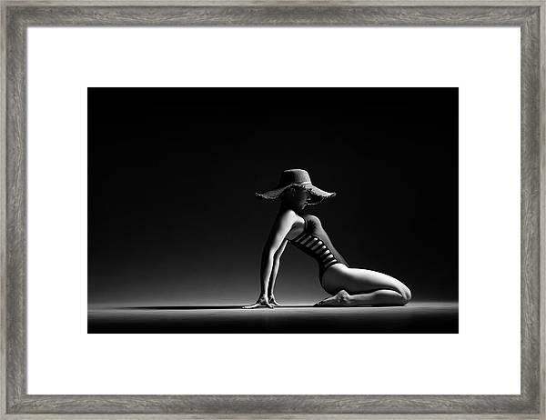 Woman In Black Costume Framed Print