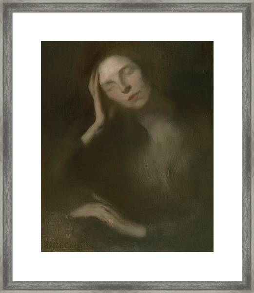 Woman Leaning On A Table, 1893 Framed Print
