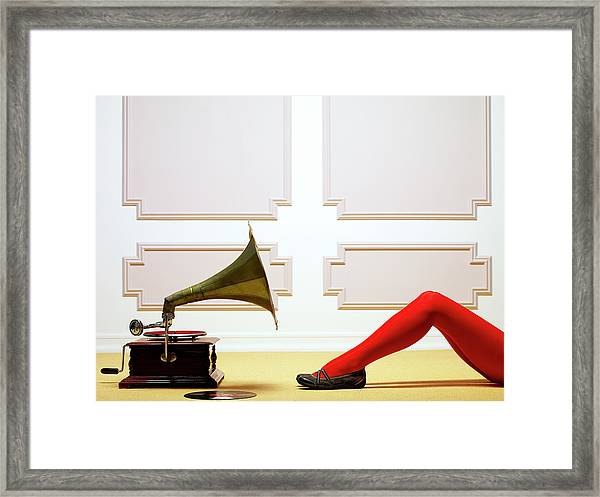 Woman Listening To Music Framed Print
