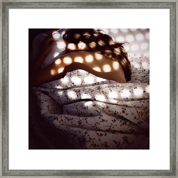 Woman Lying In Bed Framed Print