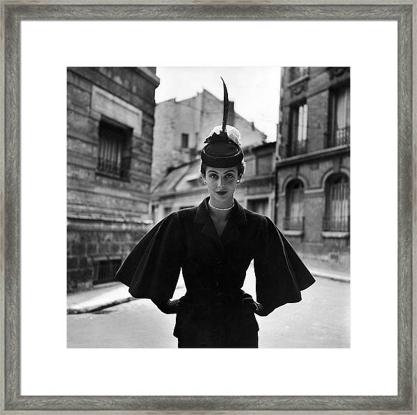 Woman Modeling A Full Sleeved Suit Framed Print by Gordon Parks