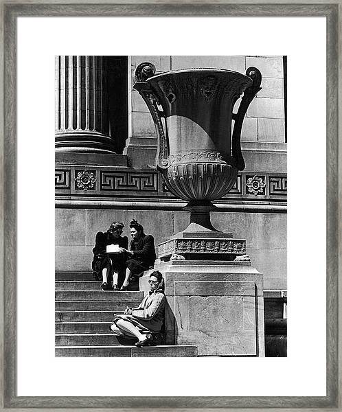 Woman Napping Among Lunchtime Loungers R Framed Print