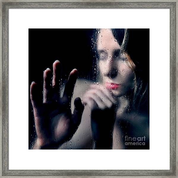 Woman Portrait Behind Glass With Rain Drops Framed Print
