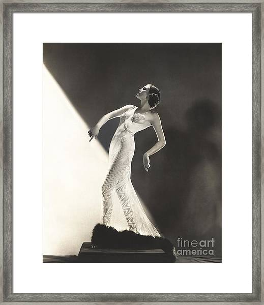 Woman Wearing Sheer Evening Gown Framed Print