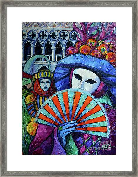 Woman With A Fan Textured Palette Knives Oil Painting Mona Edulesco Framed Print