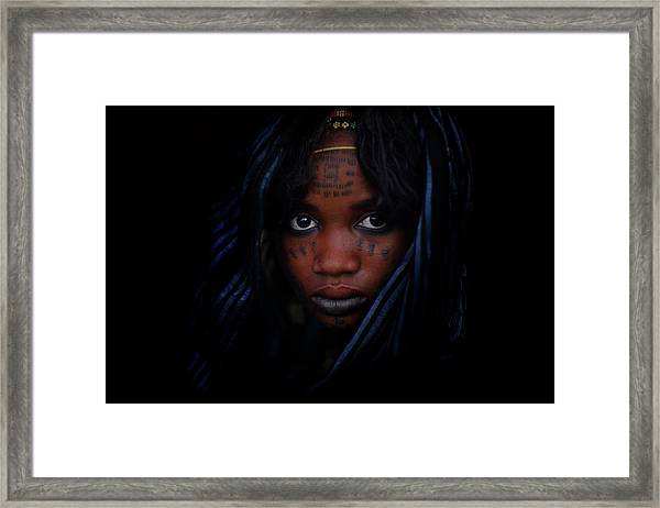 Woman With Blue Head Scarf And Facial Framed Print by Timothy Allen