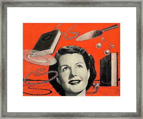 Woman With Consumer Goods Framed Print