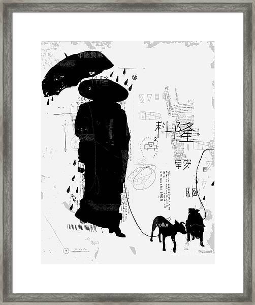 Woman With Dog Translation Chinese Framed Print