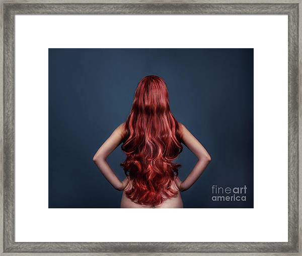 Woman With Long Red Hair From Behind Framed Print