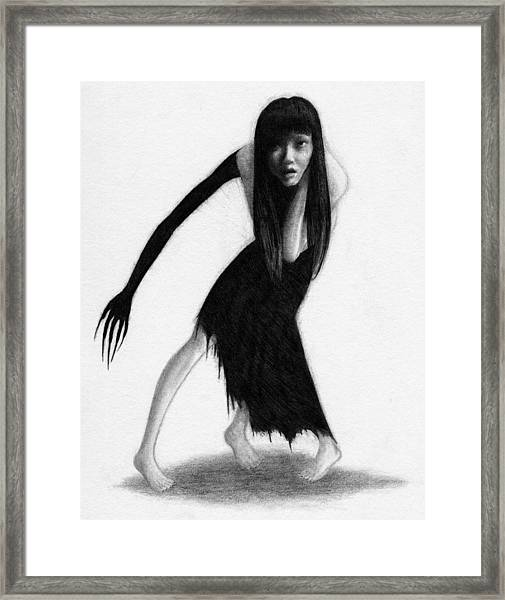 Woman With The Black Arm Of Demon Ghost - Artwork Framed Print