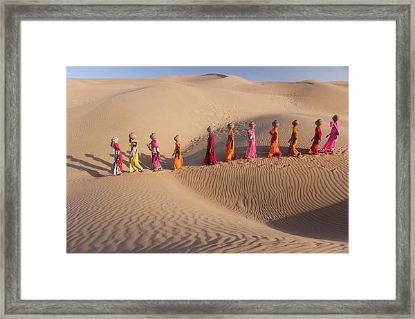 Women Fetching Water From The Sparse Framed Print