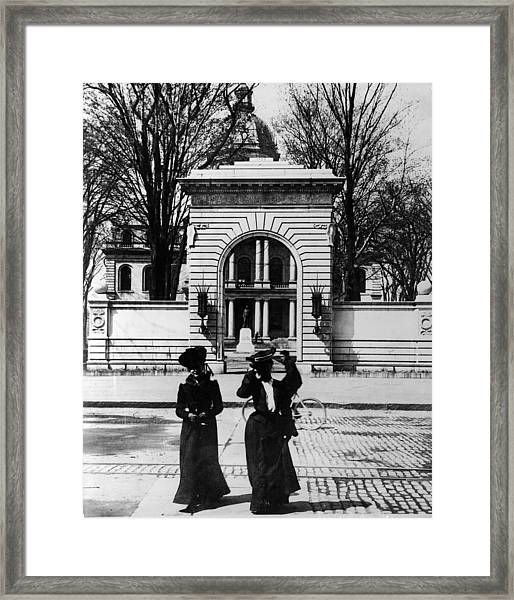 Women Outside The Concord State Capitol Framed Print