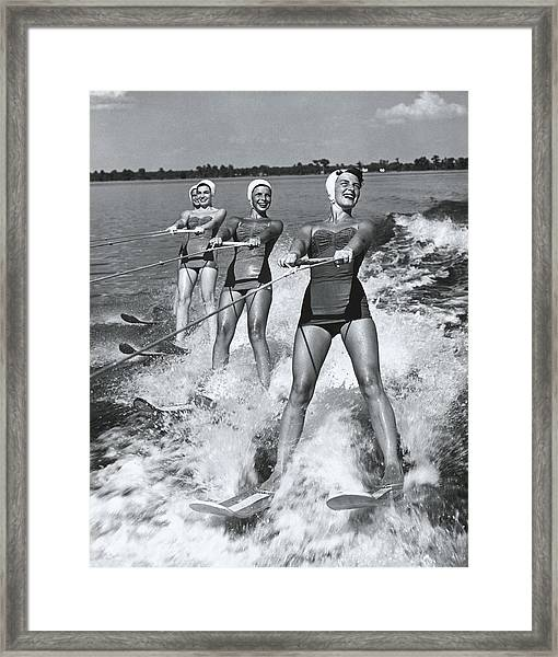 Women Waterskiers In Line B&w Framed Print