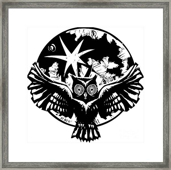 Woodcut Flying Owl With Feathered Wings Framed Print