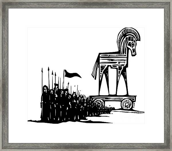 Woodcut Style Expressionist Image Of Framed Print