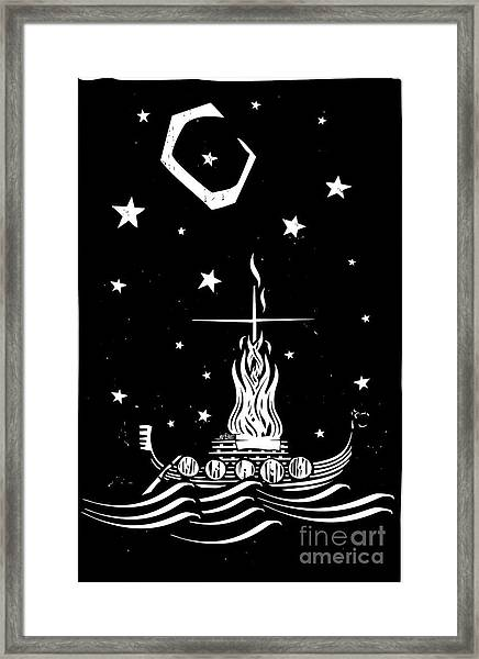 Woodcut Style Image Of A Viking Chief Framed Print