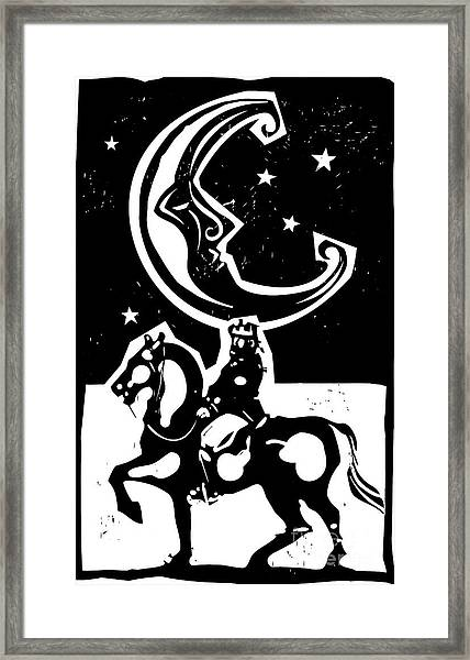Woodcut Style Moon And Mounted King On Framed Print