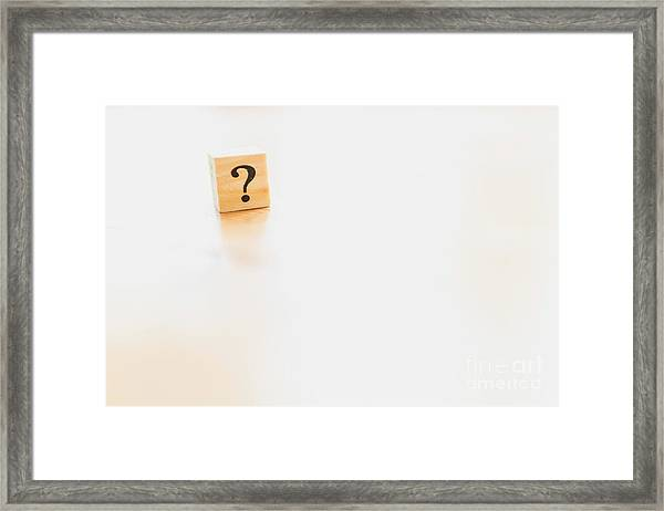 Wooden Dice With Question Mark And Doubt. Framed Print
