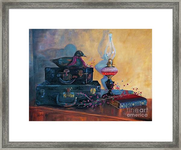 Wooden Duck And Black Cases Framed Print