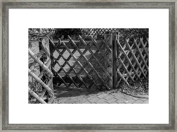 Wooden Fence B W Framed Print