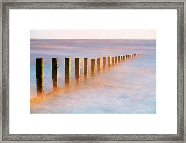 Wooden Groynes, Leysdown, Isle Of Framed Print by John Miller Photographer