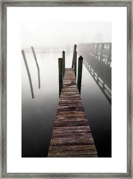 Wooden Jetty In The Morning Fog Framed Print
