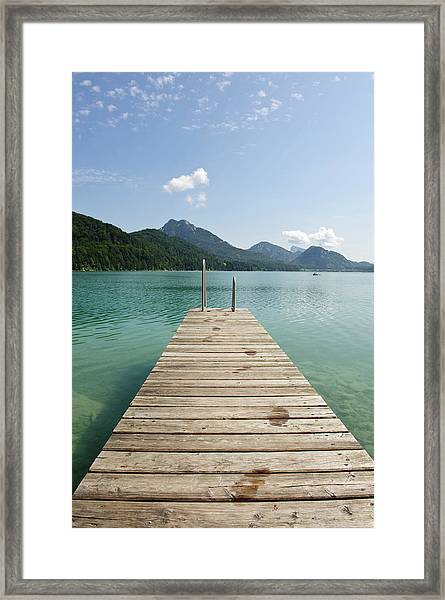 Wooden Jetty Out To Lake Fuschl Framed Print
