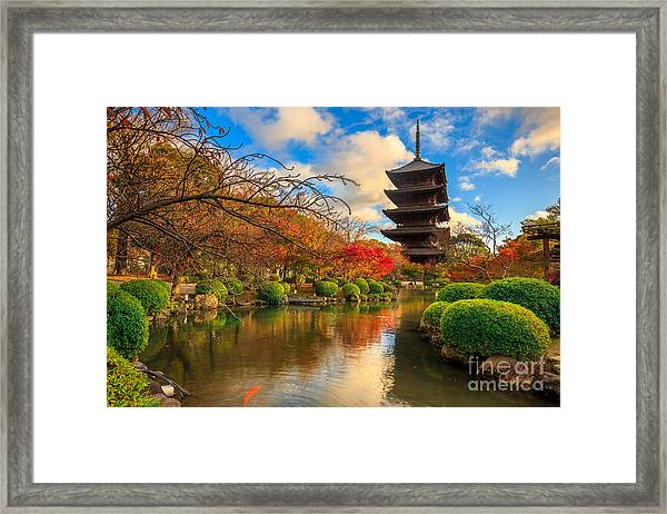 Wooden Pagoda Of Toji Temple, Kyoto Framed Print
