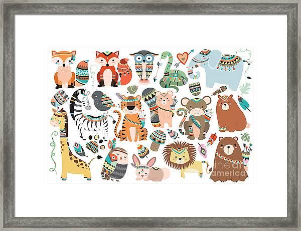 Woodland And Jungle Tribal Animals Framed Print