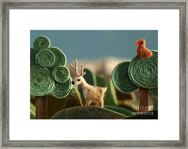 Woods Closeup With Deer And Bird On The Framed Print