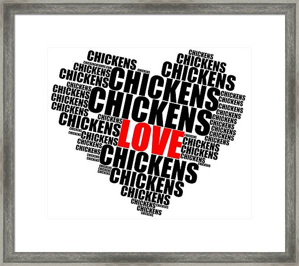 Wordcloud Love Chickens Black Framed Print