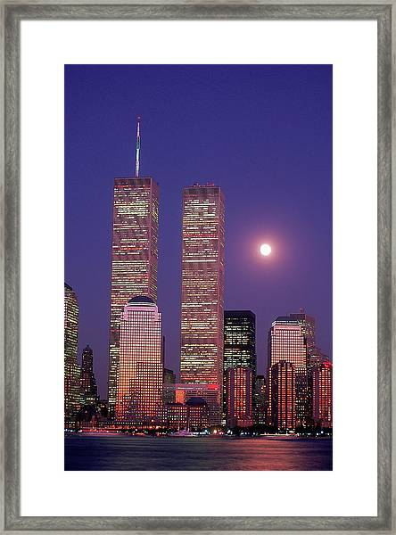 World Trade Center And Moon, Nyc Framed Print