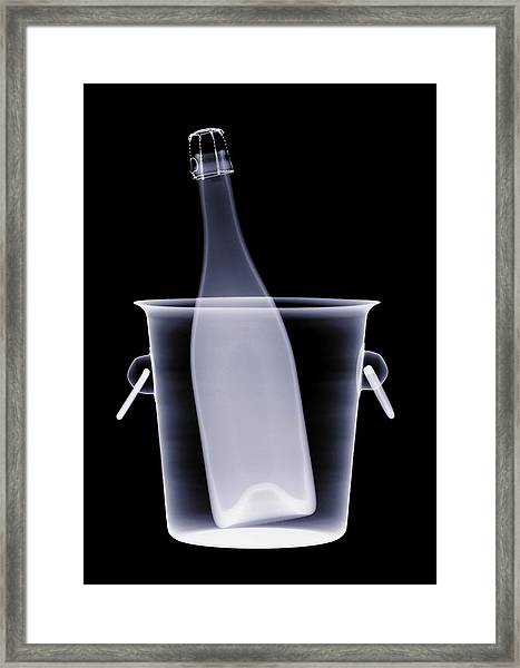X-ray Of A Bottle Of Champagne In An Framed Print