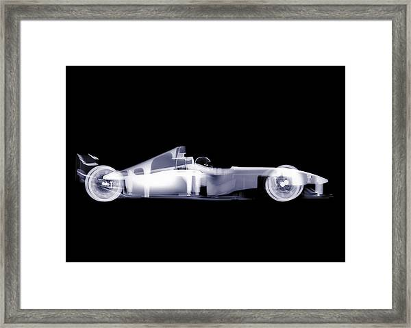 X-ray Of A Toy Formula One Race Car Framed Print by Nick Veasey