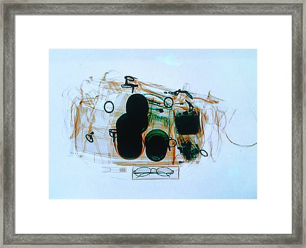 X-ray Of Cabin Luggage At Sydney Framed Print