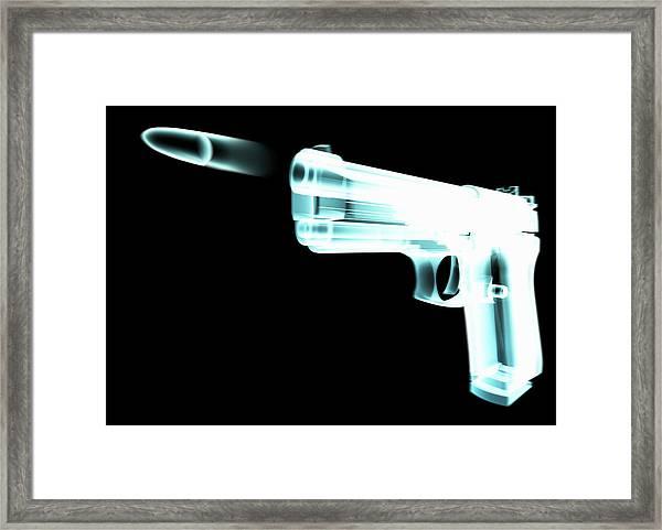 X-ray Of Gun Firing Bullet Digital Framed Print by Gary Cornhouse